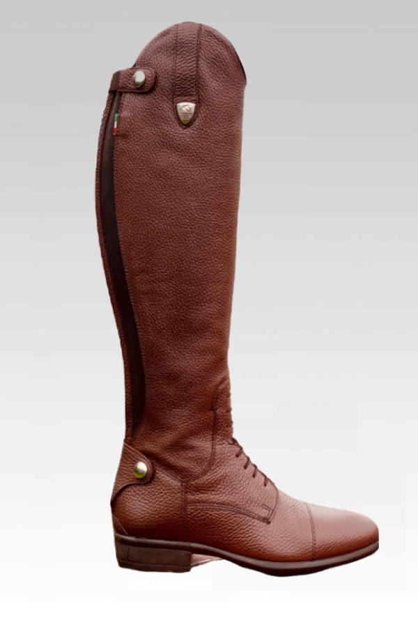 Tattini Boots - Breton Brown - Grained Italian English Riding Boot - Tall Boots