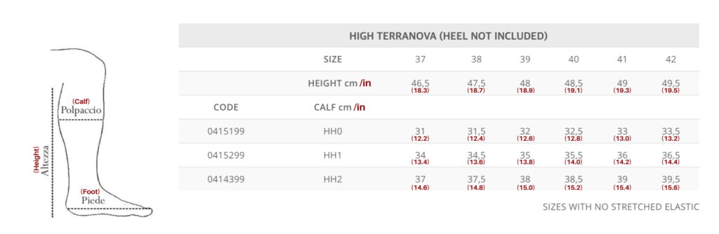 High Terranova Size Chart for Tattini Boots Italian English Riding Boots