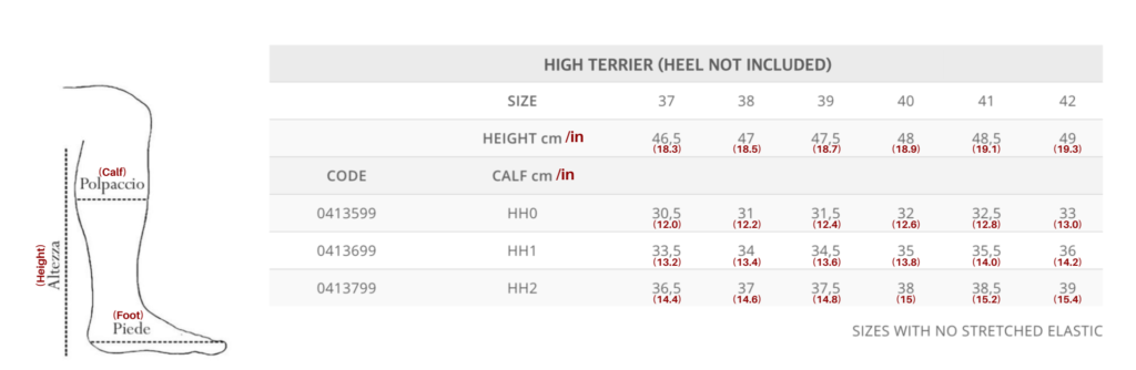 High Terrier Size Chart for Tattini Boots Italian English Dressage Boots