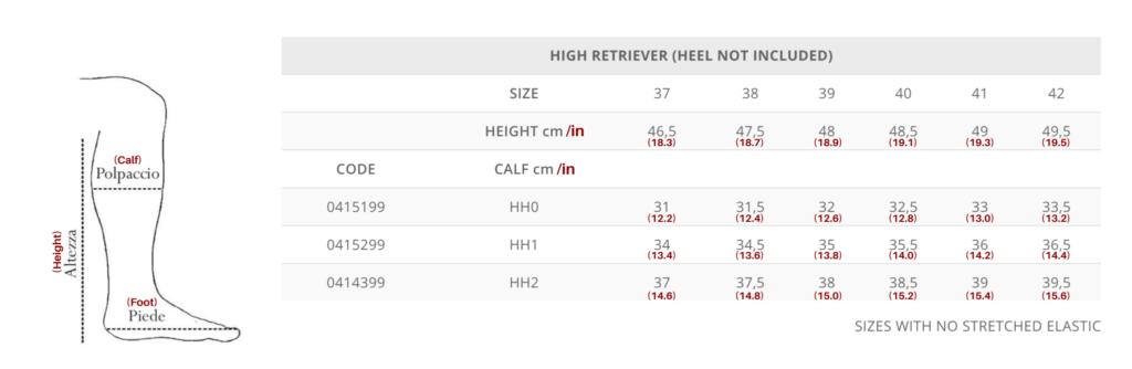 Tattini Boots - Size Chart for Retriever High Height - Italian English Tall Boots