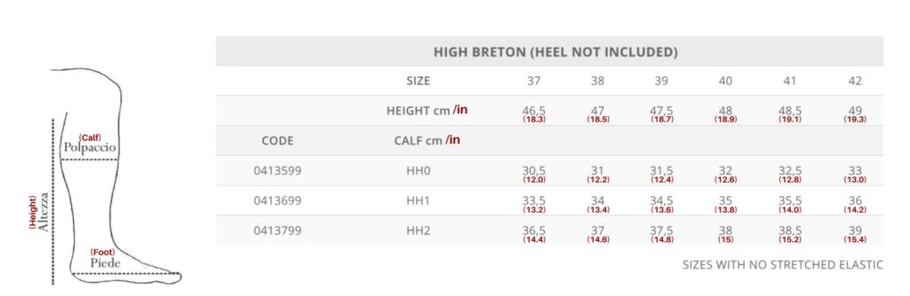 Tattini Boots - Size Chart for Breton High Height - Italian English Tall Boots