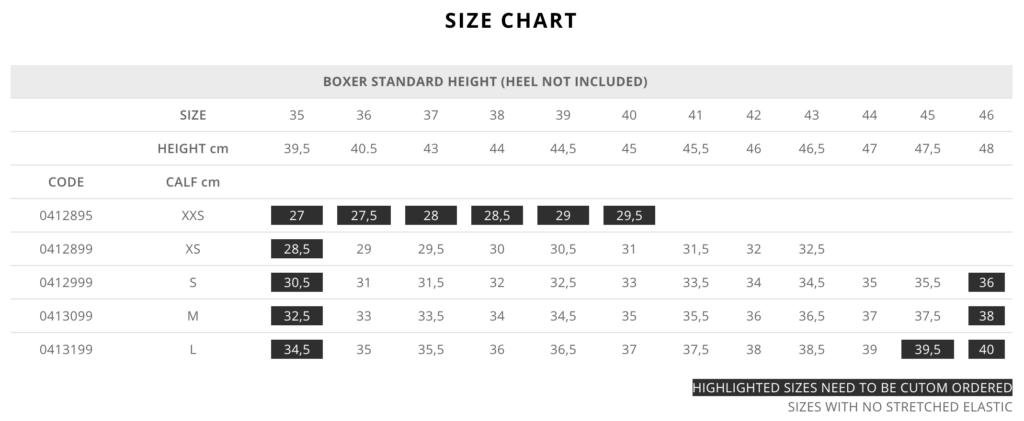 Standard Boxer Size Chart for Tattini Boots Italian English Riding Boots