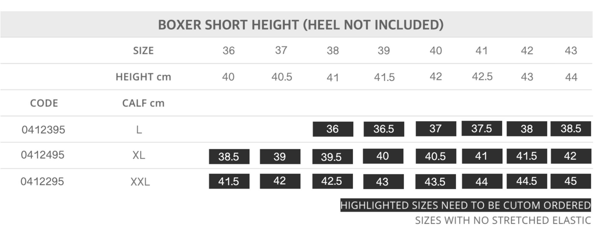 Short Boxer Size Chart for Tattini Boots Italian English Riding Boots