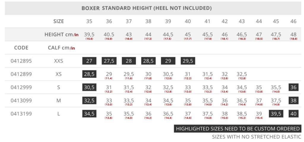 Standard Boxer Size Chart for Tattini Boots Italian English Riding Boots - Dressage Boots - Field Boots