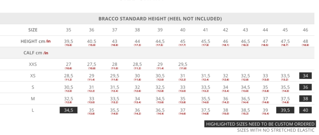 Standard Bracco Size Chart for Tattini Boots Italian English Riding Boots - Dressage Boots - Field Boots