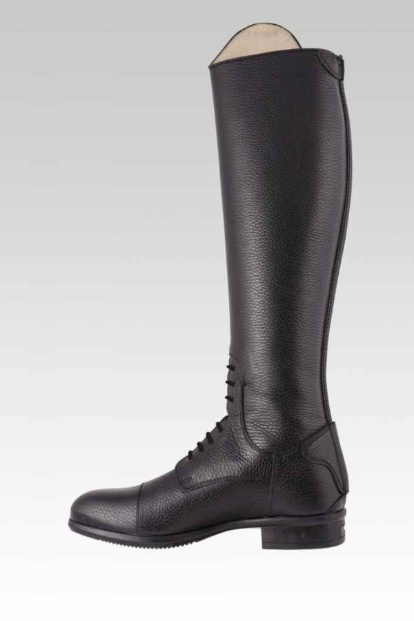 Tattini Boots - Breton Black - Grained Italian English Riding Boot - Tall Boots