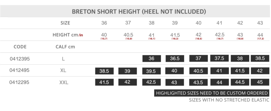 Short Breton Size Chart for Tattini Boots Italian English Riding Boots