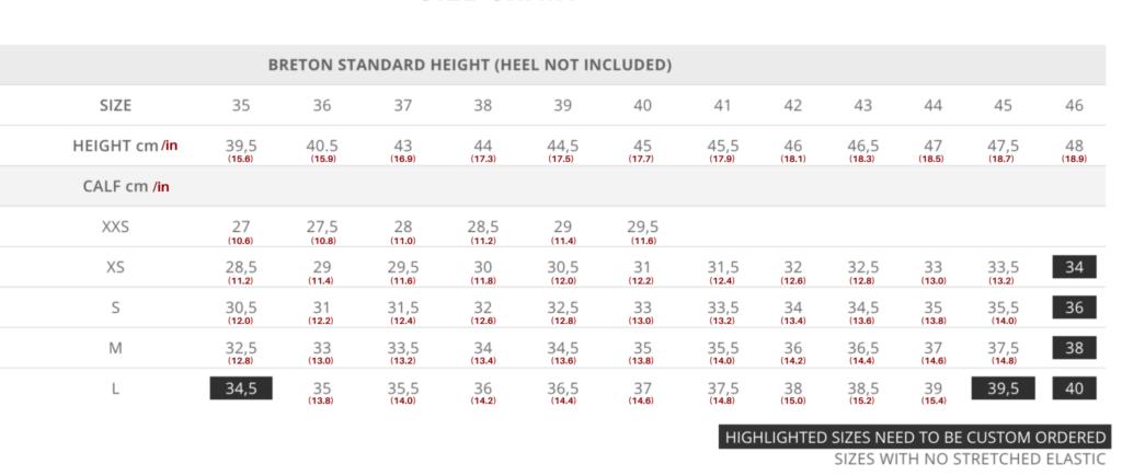 Standard Breton Size Chart for Tattini Boots Italian English Riding Boots