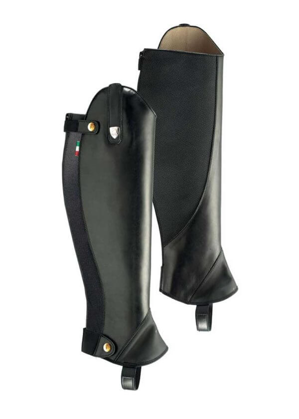 Tattini Boots - Black Smooth Leather English Riding Chaps with Interchangeable Straps - Italian English Half Chaps