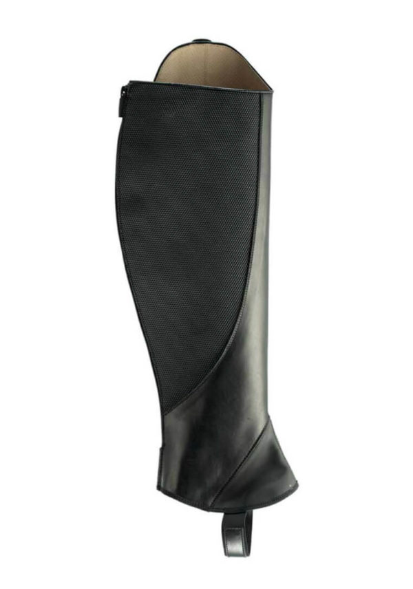 Tattini Boots - Black Smooth Leather Equestrian English Riding Chaps with Straps - Italian Half Chaps - Inside View