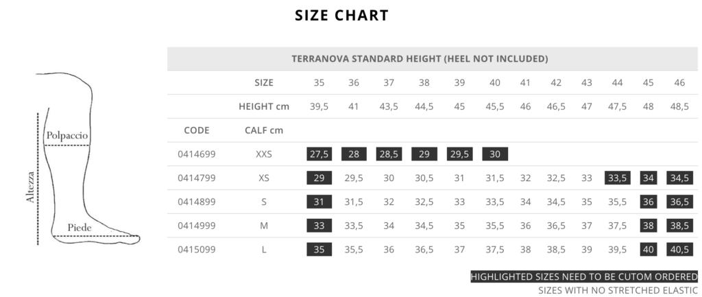 Standard Terranova Size Chart for Tattini Boots Italian English Riding Boots